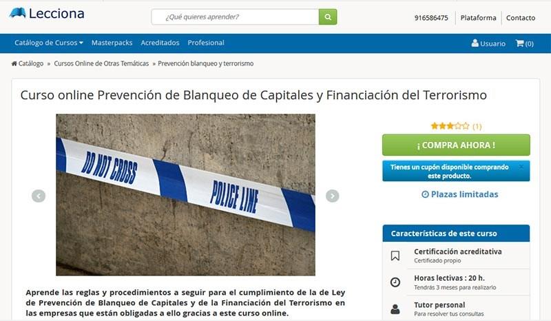 Curso de Prevención de Blanqueo de Capitales y Financiación del Terrorism